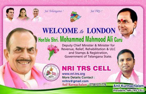 NRI TRS CELL Welcomes Telangana Deputy CM Shri. Mahmood Ali to London