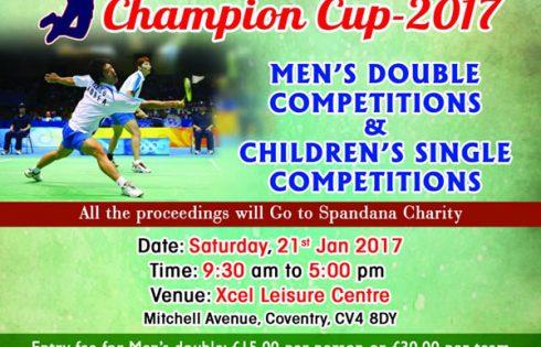 Spandana SBI Badminton Champion Cup on 21st Jan 2017