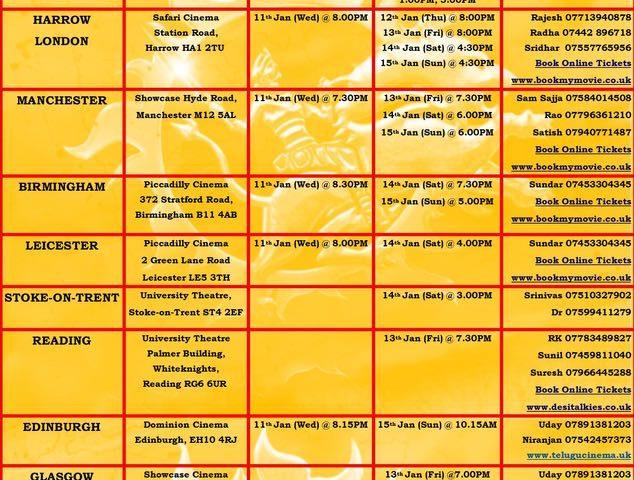 """Gowthami Putra Satakarni"" Latest UK Schedule"