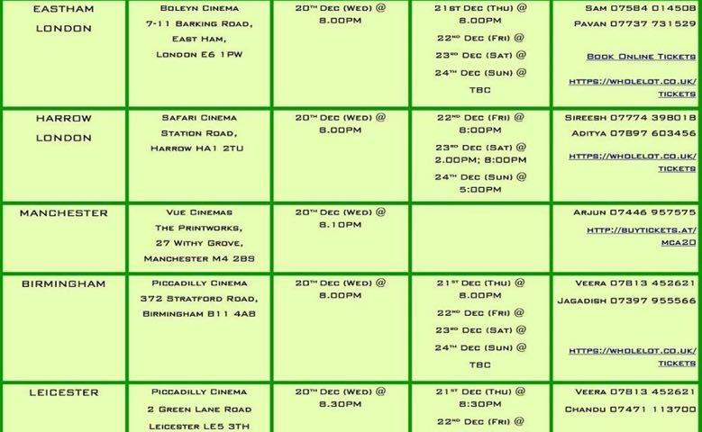 MCA Telugu Movie in UK Schedule
