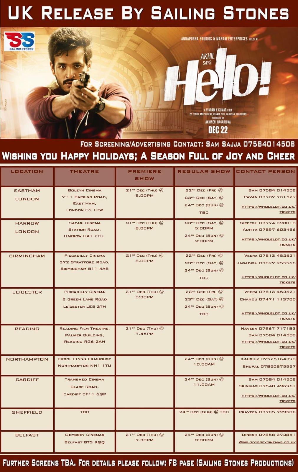 Telugu Movie Hello In Uk Schedule By Sailing Stones Ap2uk