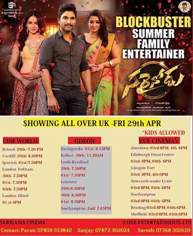 Sarainodu Showing all over UK 29th APR, 2016