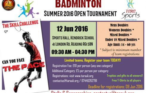 Summer 2016 Open Badminton Tournament (By TARA)