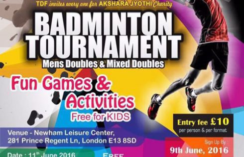 TDF UK Europe Akshara Jyothi Chartity Badminton Tournament