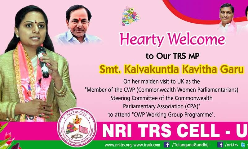Heartly Welcome To TRS MP Smt.Kavitha Garu To UK –  NRI TRS CELL UK