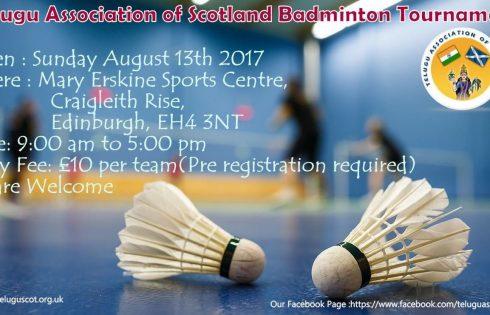 Telugu Association of Scotland Badminton Tournament On 13th Aug 2017
