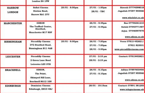 Bhagamathi UK schedule